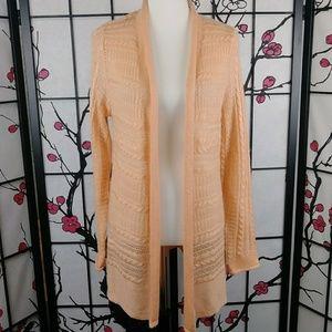 🌼 NEW Sonoma Soft Peach Open Knit Cardigan Long